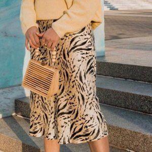 H&M Yellow tiger Print Flared Satin Midi Skirt